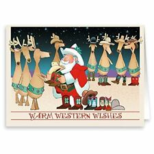Santa & Western Cowboy Boots Christmas Card - 18 Cards & Envelopes -  40028