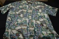 Coral Reef Hawaii Cotton 2X Boats Graphic Men's Shirt