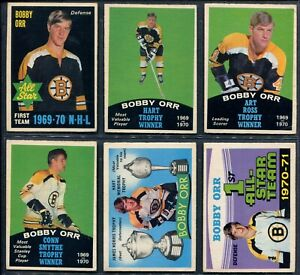 1970's OPC O-Pee-Chee Hockey -> Bobby Orr hockey cards - Lot of 6