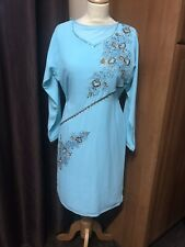 pakistani indian shalwar kameez Contrasting Thread Embroidery Stitched +Churidar