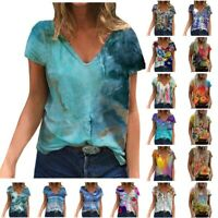 Womens Short Sleeve Print Flower Tunic T-Shirt Ladies V-Neck Blouse Casual Tops