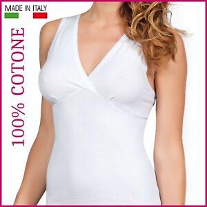 Canotta intima da donna spalla larga con forma seno canottiera in cotone costine