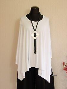 Moonshine Fashion° Weite Lagenlook Zipfel Tunika Shirt Baumwolle ~ Weiß ~ 46-50