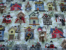 3 Yard Quilts Cotton Fabric- Elizabeth's Studio Housing Boom Birdhouses Branches