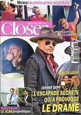 CLOSER N°573 03/06/2016 DEPP&HEARD/ CHARLENE DE MONACO/ CAREY/ BARTOLI/ RONALDO
