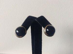 TIFFANY&CO  T&CO 18K YG Cabochon Domed Black Onyx Non-Pierced Earrings Pre-Owned