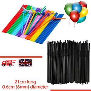 Flexible Bendy Black Plastic Straws Birthday Party Drink Wedding Summer Coloured