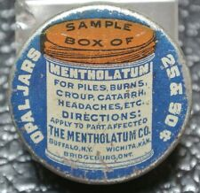 VINTAGE 1900's MENTHOLATUM SAMPLE BOX TIN - Opal Jars RARE - Bridgeburg, Ont.