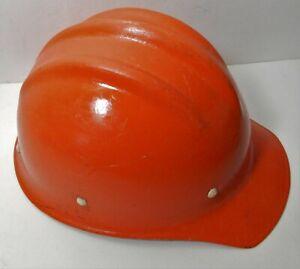 Nice VINTAGE ORANGE FIBERGLASS HARD BOILED BULLARD 502 Hard Hat IRONWORKER
