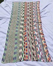 """Vintage Handmade Colorful Zigzag Afghan Throw Blanket Crochet Afgan 38"""" X 72"""""""