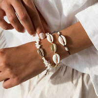 3Pcs Boho Natural Cowrie Bead Shell Bracelet Handmade Chain Summer Beach Jewelry