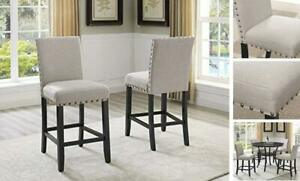 Biony Fabric Counter Height Stools with Nailhead Trim, Set of 2 Tan