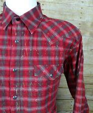 Wrangler Mens Western Snap Shirt Retro Long Sleeve Rodeo Cowboy - L