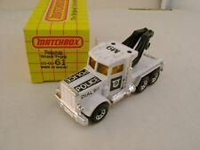 1983 MATCHBOX SUPERFAST #61 DIAL 911 POLICE M9 PETERBILT TOW WRECK TRUCK BK BOOM