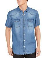 INC Mens Shirt Blue Wash Size Medium M Snap Button Down Denim Steven $49 164