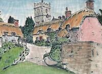 ENGLISH VILLAGE LANDSCAPE Watercolour Painting ARTHUR MITSON 1973