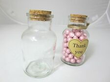24x 150ml Small Glass Jars Bottles with CORK Wedding Favours Lolly Jar