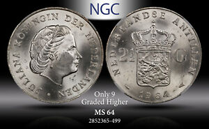 1964 NETHERLANDS SILVER 2.5 GULDEN NGC MS64 ONLY 9 GRADED HIGHER WORLDWIDE