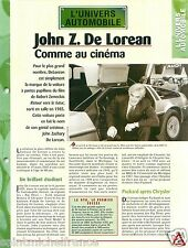 John Zachary DeLorean Motor Company DMC General Motors Car Auto FICHE FRANCE