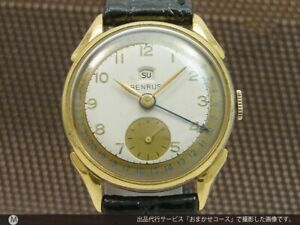 BENRUS Pointer Date Small Second Manual Winding Vintage Watch 1950's