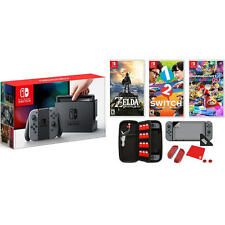 Nintendo Switch Bundle -Gray Console(w/Gray Joy-Con, Mario, Zelda,1-2,Mario Case