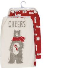 CHEERS Bear With Wine Christmas Tea Towels, Set of 2, Primitives by Kathy