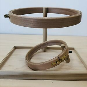 """Needlework Hoop Stand and Tray with 6"""" and 8"""" Hoops, Wood, Notforgotten Farm"""