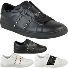 Womens Black Trainers Shoes Work School Stud Sneakers Sport Fashion Pumps Size