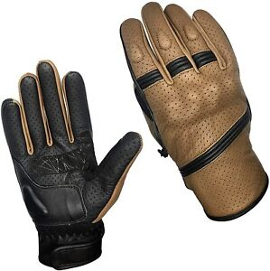 Best Summer Brown Leather Motorbike  Motorcycle Gloves with Knuckle Protection