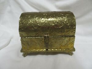 Small vintage  brass Hinged Treasure Chest/jewellery box - lined with velvet