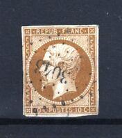 """FRANCE STAMP N° 9 a """" LOUIS-NAPOLEON 10c BISTRE-BRUN """" OBLITERE TB SIGNE  R698"""