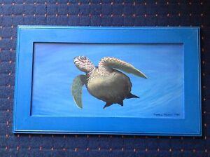 "SUZANNE NYSSEN 1998 ""GREEN NECK TURTLE"". ORIGINAL OIL PAINTING. AUSTRALIAN ART."