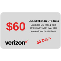 NEW Verizon Nano SIM $60 UNLIMITED CALL/TEXT/LTE DATA + 1 MONTH Included