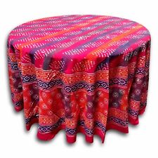 Handmade 100% Cotton Hand Block Print 88 inches Round Tablecloth Red