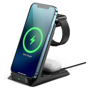 3 in 1 Induction Qi Wireless Charger Fast Charging Stand For iPhone 12Pro MAX/11