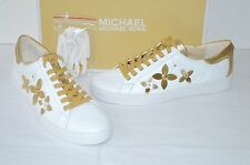 New $140 Michael Kors Lola Sneaker Optic White/Pale Gold Leather Flowers sz 9