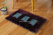 Floor Mat Bathroom Outdoor Carpet Violet & Turquoise Indian Handmade Indoor Rug