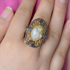 Pearl Pave Diamond 14K Yellow Gold Wedding Ring 925 Silver Fine Designer Jewelry