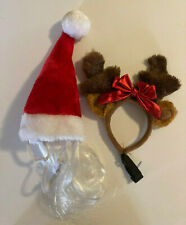 Santa Hat and Reindeer Antlers for small dog or cat Christmas costume