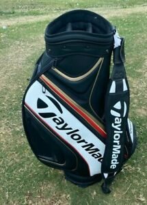 "Taylormade Golf 2016 Tour Staff 6-Way 9.5"" Cart Bag - Black/White/Gold/Red *SE*"