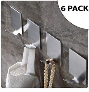 6 Strong Self Adhesive Chrome Effect Hooks Kitchen Bathroom Stick On Wall Door