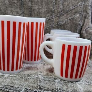 Hazel Atlas Candy Striped Red and White Milk Glass - Rare Set of 6 - MCM Barware