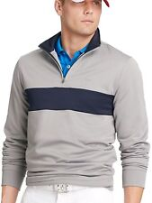 Izod Golf Pullover Jacket Silver Nickel Navy Stripe Quarter Zip Men's M-NWT!
