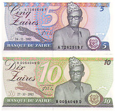 1985 Pair 5 & 10 Zaires Banknotes Zaire - Pick 26A, 27A - Uncirculated