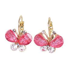 Vintage Art Deco pink crystal butterfly hoop earrings