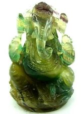 RARE 2585CT GANESHA MULTI Color RAINBOW FLUORITE CARVED SCULPTURE ART 10CM