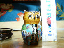 Adorable Little Cloisonne Owl On Stand