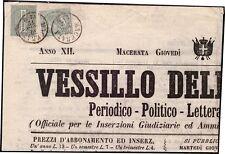 REGNO D'ITALIA 1872 - 1 + 5 c. n.T14+T16 SU GIORNALE MACERATA SPL