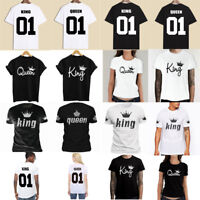 Couple T-Shirt King & Queen Matching Set Sweet Family Love Clothes Tee Gift Tops