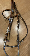 Nbha combo bit & Barrel racing Horse Headstall bridle tack silver leather